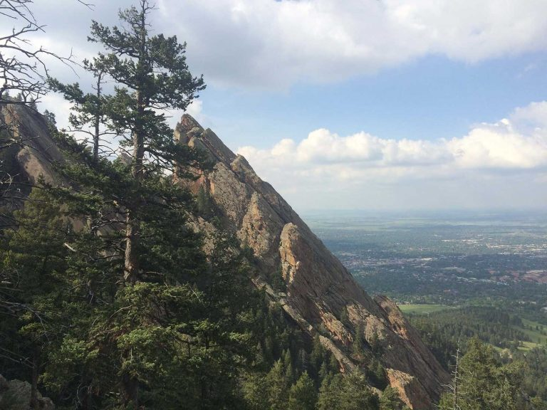 Boulder Flatirons looking down on Boulder